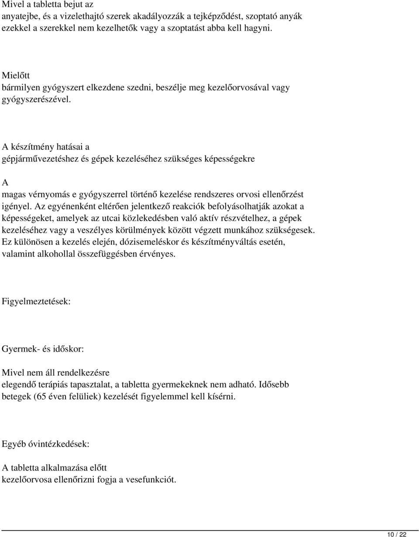 a magas vérnyomás diuretikumokkal történő kezelése)